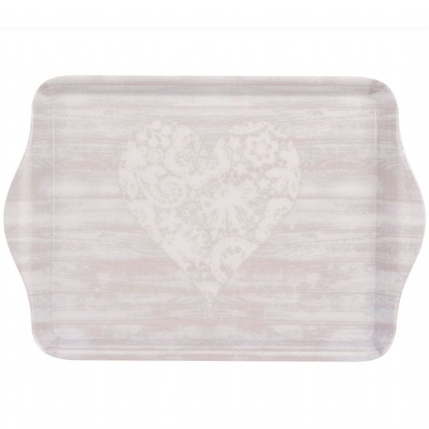 Heart & Wood Effect 21cm Tea & Coffee Tray